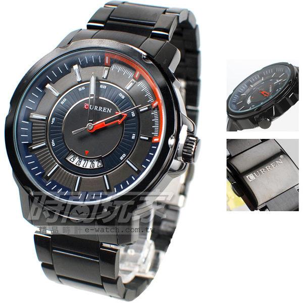 CURREN 大錶面 個性 黑色 日期顯示窗 大錶盤 飛行錶 學生錶 數字錶 男錶 CU8229IP