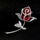 水晶胸針玫瑰花飾品胸花男女西裝
