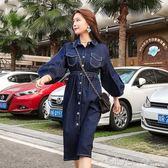 春裝韓版燈籠袖中長款高腰牛仔洋裝女顯瘦鬆緊收腰休閒裙子 深藏blue