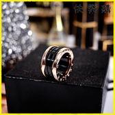戒指-黑色陶瓷網紅戒指男情侶款食指環尾戒