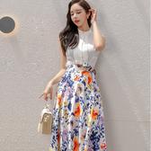 韓系 新款兩件套 2020韓版S-XL氣質修身襯衫上衣系帶印花半身裙套裝女7051 NE49 依品國際