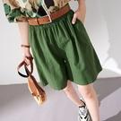 【慢。生活】鬆緊腰紋理棉麻短褲 018  FREE 綠色
