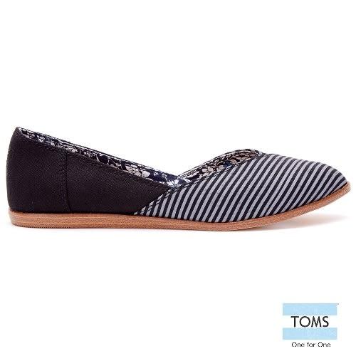 TOMS 條紋拼接平底尖頭鞋-女款(10007780   BLACK)