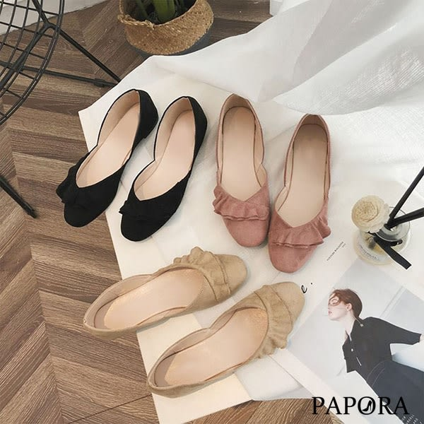 PAPORA荷葉摺編絨面平底娃娃鞋K9900黑/卡其/粉