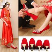 婚鞋女高跟鞋細跟貓跟尖頭紅色新娘鞋 衣普菈