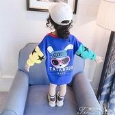 女童洋裝 童裝女童秋裝衛衣春秋款中長款T恤兒童寶寶連衣裙長袖公主裙4 快速出貨