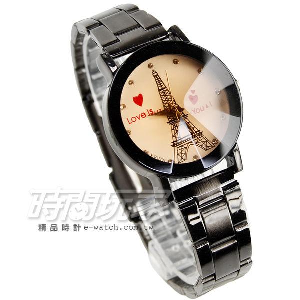 KEVIN Love鐵塔時尚腕錶 鑽時刻 立體多角度切割鏡面 IP黑電鍍 女款 漸層 KV20鐵塔心小