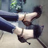 低跟鞋 毛毛鞋尖頭高跟鞋秋季女鞋韓版細跟一字扣貓跟單鞋女涼鞋 傾城小鋪