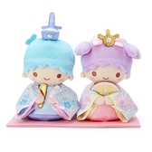 小禮堂 雙子星 女兒節絨毛玩偶組 雛祭娃娃 和服娃娃 小型玩偶 透明盒裝 (2入 藍紫) 4550337-37398