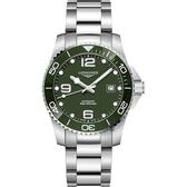 綠水鬼 LONGINES 浪琴 深海征服者浪鬼陶瓷潛水機械錶-綠x銀/41mm L37814066
