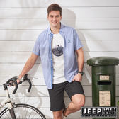 【JEEP】夏日清新條紋短袖襯衫-藍