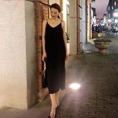 全館免運八折促銷-黑色吊帶連衣裙度假新款打底細肩帶無袖顯瘦開叉直筒休閒雪紡長裙