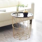 北歐風創意現代簡約鐵藝收納籃筐小茶幾家居客廳裝飾角幾沙發邊幾