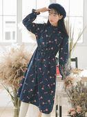 燈芯絨長袖碎花連身裙女2018秋冬季新款氣質內搭加厚襯衫打底裙子
