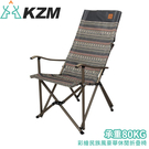 【KAZMI 韓國 彩繪民族風豪華休閒折疊椅《藍灰》】K7T3C003WI/折疊椅/休閒椅/露營桌椅