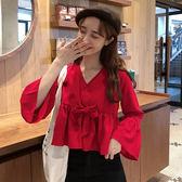 2019秋裝韓版荷葉邊喇叭袖襯衫上衣女紅色V領顯瘦長袖娃娃雪紡衫