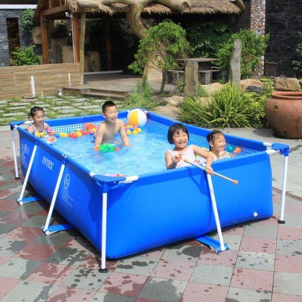 泳池 INTEX支架兒童游泳池家用成人戶外超大號小孩加厚水上樂園養魚池 igo克萊爾