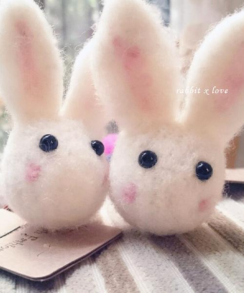 ♥ 正韓粉戀兔兔 rabbit x love 羊毛氈髮飾 (髮圈/ 單個) ♥2016 韓國可愛髮飾♥