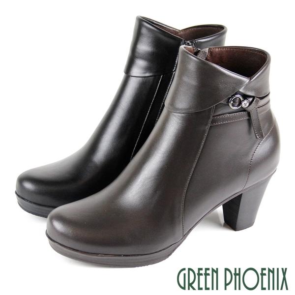 U15-20083 女款全真皮高跟短靴 翻領繞踝扭結水鑽全真皮高跟短靴/馬靴【GREEN PHOENIX】