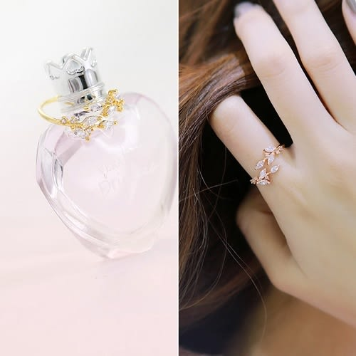 【NiNi Me】 韓系戒指 氣質甜美樹葉鋯石開口戒指 戒指 F0013