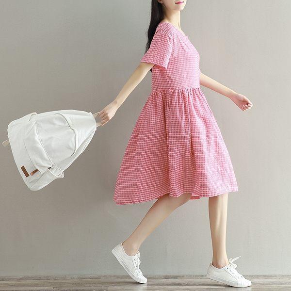 東京奈奈日系短袖格紋甜美棉麻洋裝[j46991]