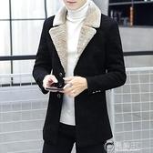男士風衣中長款韓版加絨加厚呢子大衣男裝2020新款毛呢外套男冬季 聖誕節免運