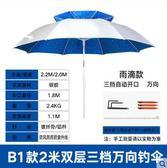 江南釣者 釣魚傘2.2/2.4米雙層萬向垂折疊防雨曬紫外線臺戶外漁具
