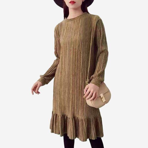 柔軟針織麻花紋壓褶小立領長袖魚尾洋裝  (棕  黑  石墨綠)三色售 (M8AW) 11752025