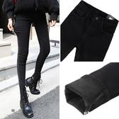 外穿冬季高腰黑色牛仔褲女加絨2019新款帶絨顯瘦緊身小腳九分加厚 9號潮人館
