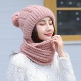 女帽子 毛線帽 韓版秋冬季純色子圍脖二件套女款學生保暖潮針織帽【多多鞋包店】yp107