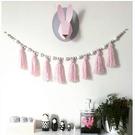 ins大號北歐風木質馬卡龍流蘇珠掛裝飾床掛兒童房服裝店裝飾掛件