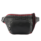【FENDI】F LOGO滾紅邊胸口/腰包(黑/灰色) 7VA446 A80Q F0P0N