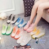 成人雨鞋 果凍透明防滑時尚防水鞋下雨鞋雨靴膠鞋套鞋水靴女短筒學生成人夏 10色 35-39