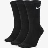 Nike U NK EVERYDAY LTWT CREW 基本款 襪子 三雙組 SX7676010 黑色【iSport愛運動