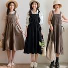 MIUSTAR 腰抽繩大口袋斜紋吊帶裙(共3色)【NJ0294】預購