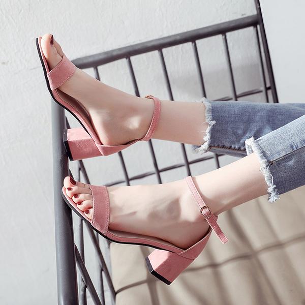 399免運 大碼高跟鞋 粗跟大碼涼鞋 低跟涼鞋 女韓版百搭高跟鞋中跟一字扣小碼羅馬鞋