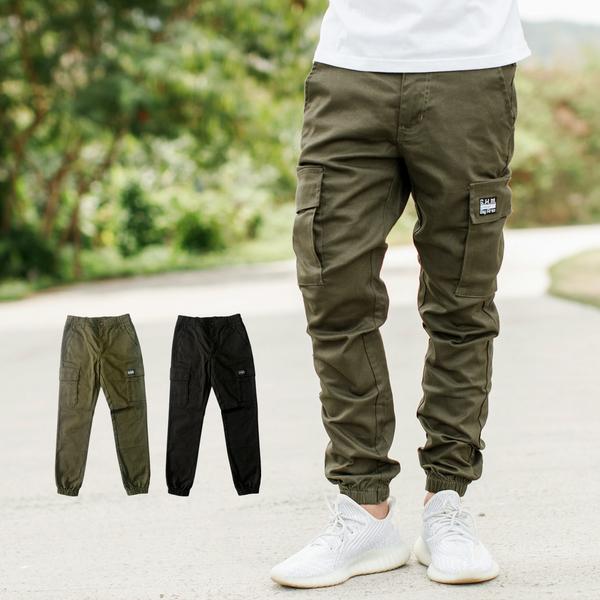 多口袋素面彈性休閒褲工作褲縮口褲【NB1077J】