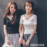 白色針織冰絲短袖女夏露背v領t恤修身顯瘦薄款微透上衣2018新款