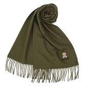 MOSCHINO 義大利製羊毛小熊圖騰字母LOGO刺繡圍巾(墨綠色)911001-006