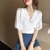 冰絲針織上衣女薄款2020夏季新款氣質優雅短袖V領雪紡拼接針織衫