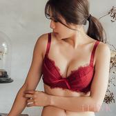 i PINK 大罩杯 夏洛特小姐 睫毛蕾絲J鋼圈薄杯成套內衣70B-100H(紅)