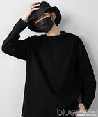 長袖t恤男ins寬鬆純棉秋冬純色白色黑色衛衣加絨打底衫內搭潮上衣 【2021新春特惠】