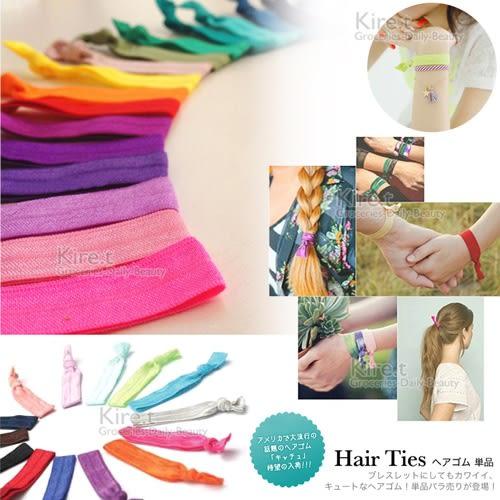 kiret緞帶手環髮繩/綁髮束/橡皮筋 超值10入贈毛絨髮圈