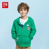 JJLKIDS 男童 海世界大口袋純棉連帽外套(綠色)