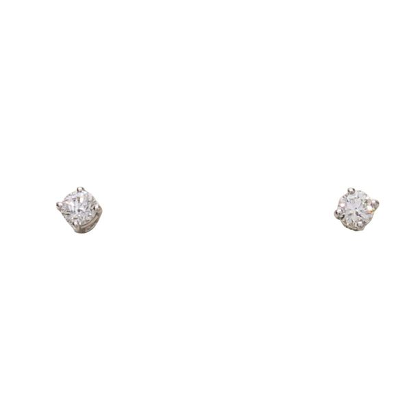 Tiffany & Co 蒂芬妮 鑽石鉑金轉釦式耳環 Solitaire PT950 【二手名牌 BRAND OFF】