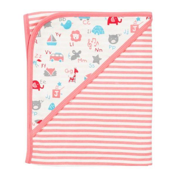 有機 / 嬰兒毯 Kite Kids 有機棉雙面嬰兒毯 / 毯子 / 嬰兒被 - 粉條紋字母小動物 BG504