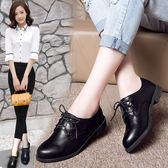 大碼41 42正裝鞋英倫時尚系帶職業小皮鞋百搭單鞋女潮黑色上班鞋 QQ3273『MG大尺碼』