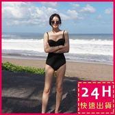 梨卡★現貨 - 韓版性感 [美胸+集中鋼圈 ]黑色超顯瘦緊身連身比基尼泳裝泳衣C955