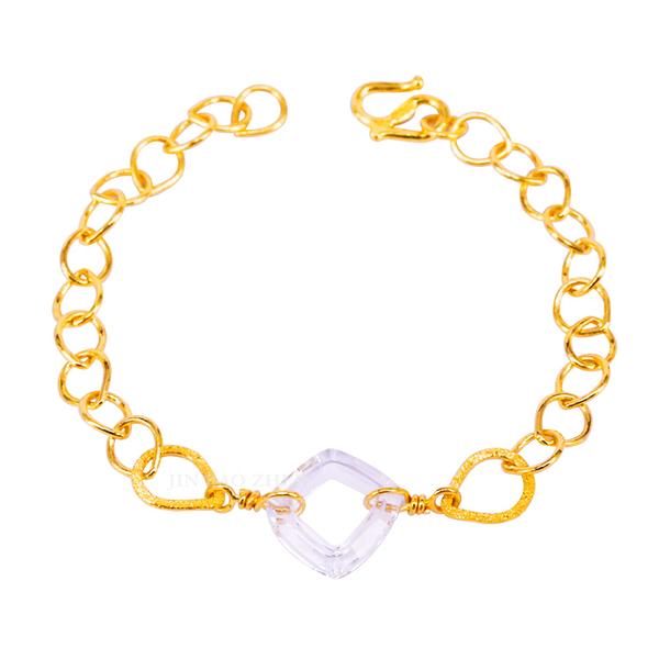 漫漫星雨-透明水晶黃金手鍊-日好