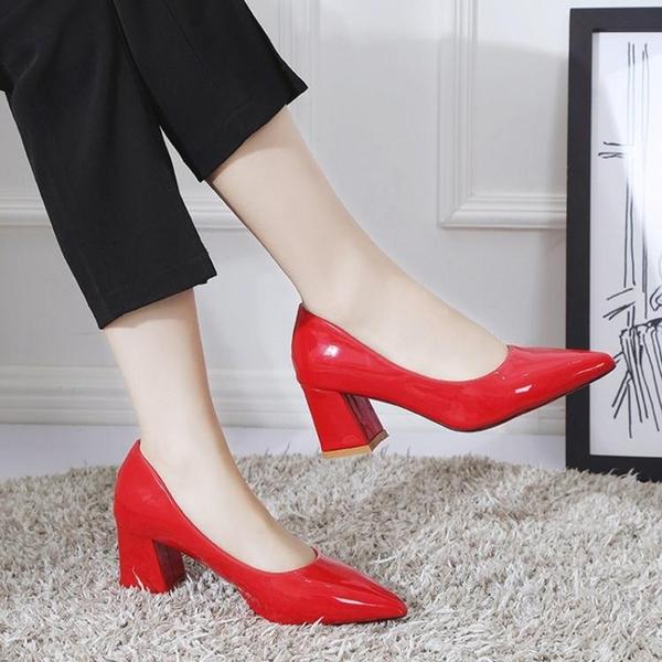 粗跟單鞋秋季新款韓版百搭網紅粗跟尖頭高跟鞋淺口漆皮上班單鞋女中跟 衣間迷你屋 交換禮物